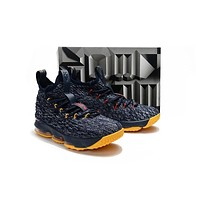 Nike LeBron 15 XV Navy/Yellow Basketball Shoe