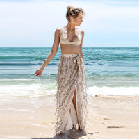 Women's Fashion Summer Lace Tassels Beach Waistband [10681937039]