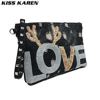 KISS KAREN Fashion Sequined Appliques Wristlets Rivet Denim Bag Women's Shoulder Bags Jeans Women Messenger Bags Crossbody Bag