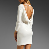 Jay Godfrey Gartner Sequin Long Sleeve Low Back Dress in White from REVOLVEclothing.com