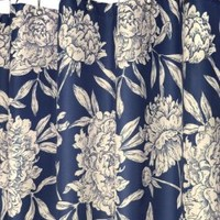 Park B. Smith Peony Shower Curtain, Navy/Natural