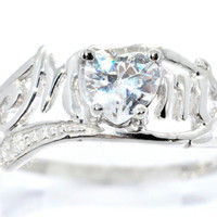 0.50 Ct Genuine Zirconia Heart MOM Diamond Ring Sterling Silver Rhodium Finish White Gold Quality