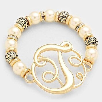 T Pearl & Filigree Metal Beaded Monogram Bracelet