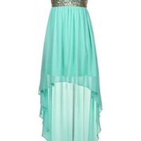 Sweetheart Sequin High-Low Dress - Kely Clothing
