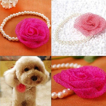 Pet Dogs Cats Neck Accessories Fake Pearl Beads Charming Flower Collars Necklace = 1929758020