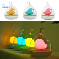 Creative Lovely Birdcage LED Night Light Rechargeable Touch Dimmer Desk table bird lights