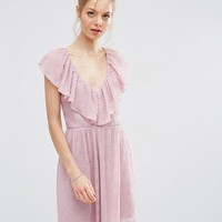 ASOS Soft Ruffle Lace Plunge Mini Dress