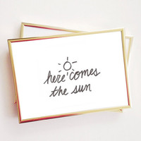 here comes the sun 8x10 room print Typographic Print Quote art print wall decor bedroom decor teen room print framed quote tumblr room decor