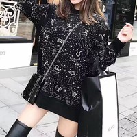 Unisex Casual Fashion Twelve Constellations Embroidery Rhinestones Long Sleeve Couple Sweater Tops