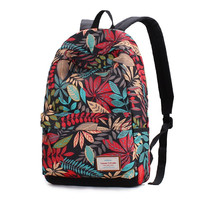 Tree Printed Leaves Canvas Backpack