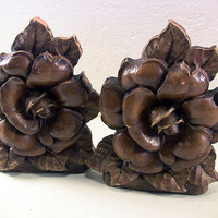 Vintage Cabbage Rose Syroco Book Ends Wood Tiki Decor