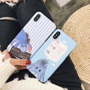 New Cute stripes Pooh Bear Scrub soft silicon cover case for iphone 6 6S S plus 7 7plus 8 8plus X eeyore Buttercup phone cases