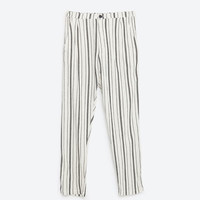 STRIPED BAGGY TROUSERS
