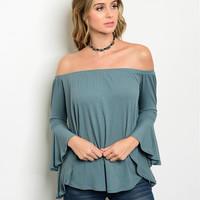 Bell Sleeve Off The Shoulder Ribbed Top