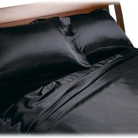 Divatex Home Fashions Royal Opulence Satin Queen Sheet Set, Black:Amazon:Home & Kitchen
