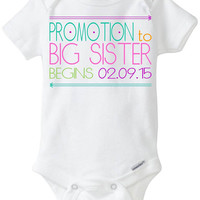 """Big Sister Pregnancy Announcement: Gerber Onesuit brand - """"Promotion to Big Sister begins on Due Date"""" New Little Brother / Little Sister"""