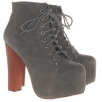 JEFFREY CAMPBELL Lita Suede Grey Suede leather platform booties