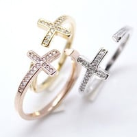 Sideways Cross and heart band Wrap Ring detailed with CZ in 3 colors