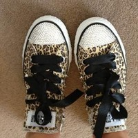 Swarovski Element Leopard Converse With Spike Stud Sides from Lizzi476