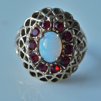 Vintage Ring Late 70's Victorian Revival Faux Opal and Garnet marked 18 K Cocktail Ring Filigree Size 4