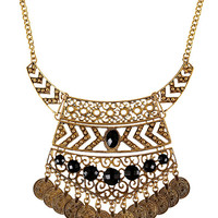 Gold Stone Embellished Coin Necklace