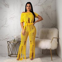 Women Casual Yellow Two Piece Knitted Ripped Crop Top Pant Set