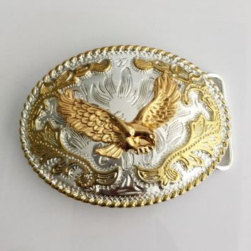Retail Western Cowboy Belt Buckle With Oval Lace Gold Eagle Metal Buckles for Luxury Men Belt accessories Fit 4cm Wide Belt