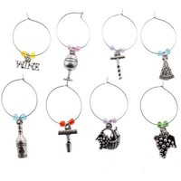 8 Wine Glass Charms, Wine Party Theme