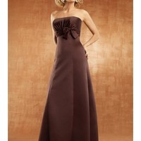 Chic Satin Strapless Empire Waist A-Line Bridesmaid Dress With Bow And Ruche Accents SB2119