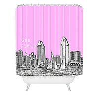 Bird Ave San Diego Pink Shower Curtain