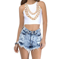 White Sleeveless Gold Necklace Print Crop Top