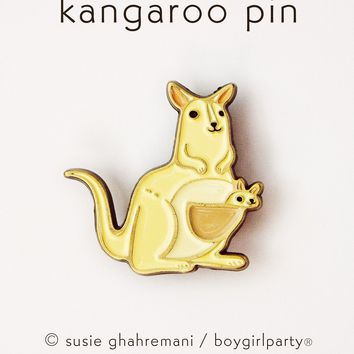 Kangaroo Pin - Mom and Baby Kangaroo Enamel Pin by boygirlparty