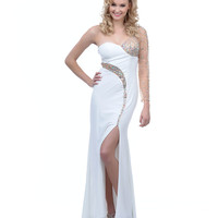 2014 Prom Dresses - Ivory Beaded Jersey Mesh One Shoulder Long Gown