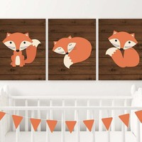 FOX Wall Art, FOX Nursery Art, Fox Decor, Woodland Fox Nursery Decor, Wood Forest Animals Canvas or Prints  Fox Wood Background, Set of 3