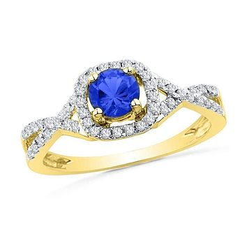10kt Yellow Gold Women's Round Lab-Created Blue Sapphire Solitaire Diamond Ring 1/5 Cttw - FREE Shipping (US/CAN)