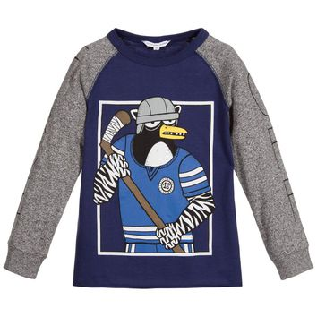 Little Marc Jacobs Boys Blue and Grey Ice Hockey Sweater