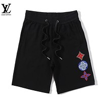 LV New fashion embroidery monogram couple shorts Black
