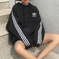 """Adidas"" Women Sport Casual Stripe Hooded Long Sleeve Loose Sweatshirt Tops"