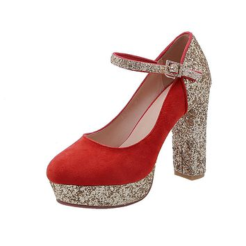 Woman Super High-heeled Buckle Bridal Shoes Sequined Platform Pumps
