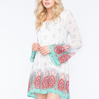 Blu Pepper Paisley Lace Up Dress Multi  In Sizes