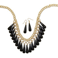 Gold Tone Black Bead Drop Fashion Necklace and Earring Set