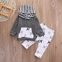 2Pcs Toddler Kids Baby Boy Girl Airplanes Hooded Tops +Pants Outfits Set Clothes