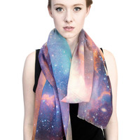 Sagan Galaxy Wool Scarf, Galaxy Printed Shawl.