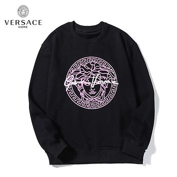 Versace autumn and winter new fashion loose cotton hooded sweater Black