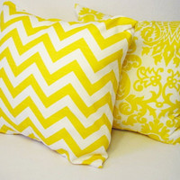 2 Yellow and White Damask and Chevron by CastawayCoveDecor on Etsy