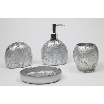 "Bathroom Accessories Set Silver  tumbler 3.5"" lotion dispenser 6.5"" bar soap dish 3.5"" toothbrush holder 3.75"""