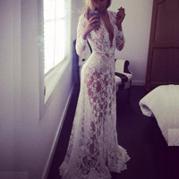 White Beach Dress Maternity Long Lace Dresses Pregnant Photography Props Fancy Pregnancy Summer Transparent Nightdress XHH8040