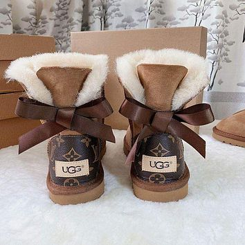 UGG LV Louis Vuitton Bow Boots Shoes Adult Child