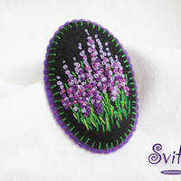French Knot Flowers Brooch | Violet Lavender Textile Brooch | Felt Brooch | Felted Textile Fashion | Textile Art | Flowers Brooch
