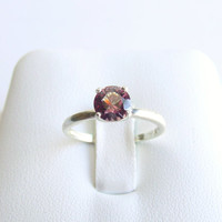 Alexandrite Solitaire Ring Sterling Silver June Birthstone Made To Order